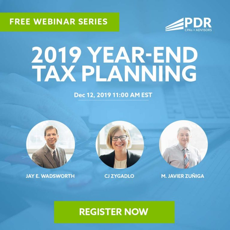 PDR Free Webinar - 2019 Year-End Tax Planning